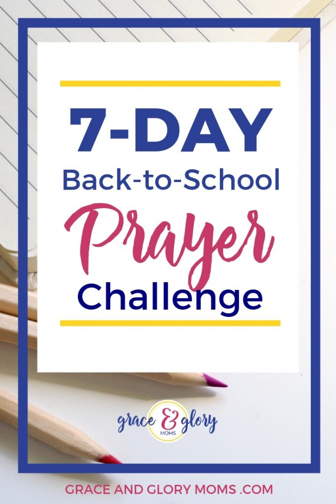 """Colored red pencils and notebook on a plain white desk. Text overlay """"7-Day Back-to-School Prayer Challenge"""" 