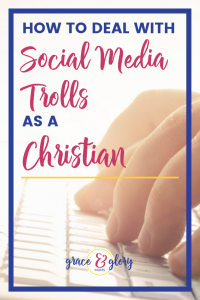 "Fingers typing on a computer keyboard. Text overlay ""How to Deal with Social Media Trolls as a Christian"" 