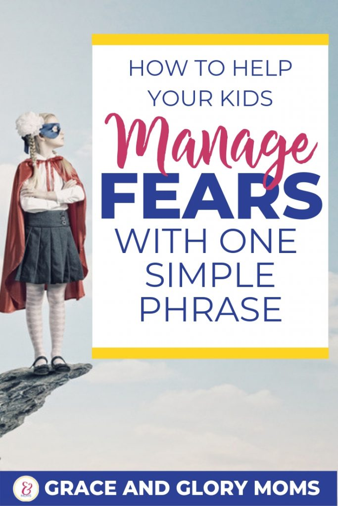 """Happy Confident kids in Superhero costumes. Text overlay """"Boost your fraidy-cat's confidence with one simple phrase"""" 